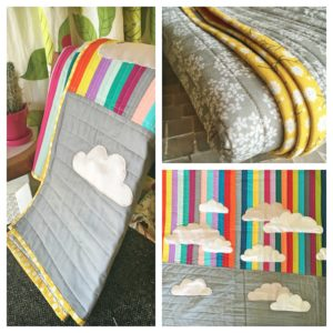 modern rainbow cloud quilt