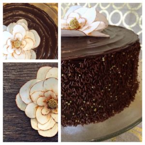 dark chocolate ganache cake with wafer paper magnolia