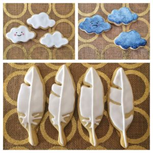 Sunny Stormy Cloud Cookies and Feather Cookies