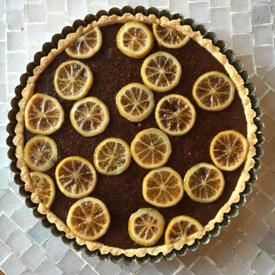 Chocolate Tart with Tea-Candied Pink Lemons