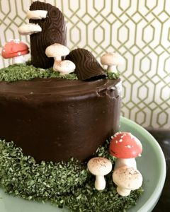 Edible Coconut Moss Woodland Cake Meringue Mushrooms Faux Bois Chocolate